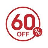 Vector minimalist flat discount round stamp 60% off. Vector red 60% off discount round stamp isolated on white background Royalty Free Illustration