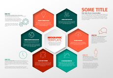 Vector Minimalist Infographic report template with hexagons Stock Images