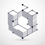 Vector minimalistic geometric abstract 3D black and white compos. Ition in futuristic style. Modern geometric composition can be used as template and layout Royalty Free Stock Photo