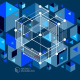 Vector minimalistic geometric abstract 3D blue black composition. In futuristic style. Modern geometric composition can be used as template and layout stock illustration