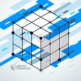 Vector minimalistic geometric abstract 3D blue composition in fu. Turistic style. Modern geometric composition can be used as template and layout Stock Photo