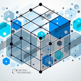 Vector minimalistic geometric abstract 3D blue composition in fu. Turistic style. Modern geometric composition can be used as template and layout Royalty Free Stock Photography