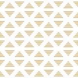 Vector minimalistic gestreifte goldene Dreiecke des nahtlosen Musters der Raute vektor abbildung