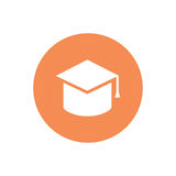 Vector minimalistic graduation cap icon. Isolated on white. An illustration of a university or college student`s cap Royalty Free Stock Photography
