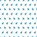 Vector minimalistic winter blue deer seamless Royalty Free Stock Photography