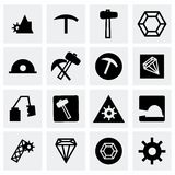 Vector mining icon set. On grey background Stock Photos