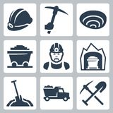 Vector mining icons set Stock Photos