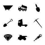 Vector mining icons set Royalty Free Stock Photo