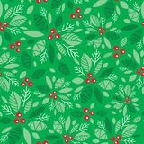 Vector mint green holly berry holiday seamless pattern background. Great for winter themed packaging, giftwrap, gifts. Projects. Surface pattern print design Royalty Free Stock Photos