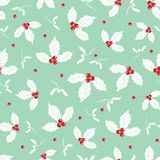 Vector mint green holly berry holiday seamless pattern background. Great for winter themed packaging, giftwrap, gifts. Projects. Surface pattern print design Stock Image