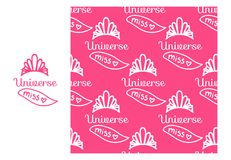 Vector Miss Universe tiara with ribbon. Seamless repeating pattern isolated on pink background. Modern Design for Girls. Miss Universe tiara with ribbon vector illustration