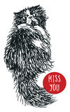 Vector Miss You postcard with hand-drawn cat Sketch style stock illustration