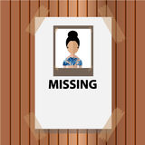 Vector- missing announce on wood background Royalty Free Stock Photos