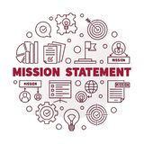 Vector Mission Statement round red outline illustration. Vector Mission Statement round red minimal illustration in thin line style stock illustration