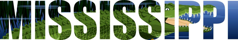 Vector Mississippi - palabra del estado americano con el cocodrilo del cocodrilo y el río del humedal ilustración del vector