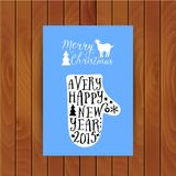 Vector mitten silhouette design card, Merry Christmas and Happy New Year lettering, typography composition. Greeting card on wood Stock Image