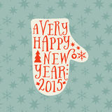 Vector mitten silhouette design card, Merry Christmas and Happy Royalty Free Stock Photography
