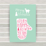 Vector mitten silhouette design card, Merry Christmas and Happy Royalty Free Stock Photo