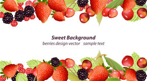 Vector mixed cherry and berry sweet summer background. Design for tea, natural cosmetics, beauty store, dessert menu Royalty Free Stock Images