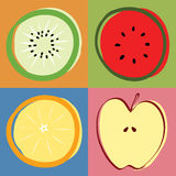 Vector mixed fruit Stock Photos