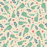 Vector mixed leaves and berries repeat seamless pattern. stock illustration
