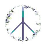 Vector mixed paint, love and peace symbol Stock Images