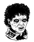 Michael jackson zombie. Vector of MJ zombie in black and white on psd format and jpeg Royalty Free Stock Photo