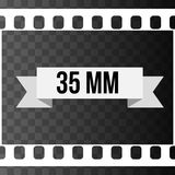 Vector 35 mm Film Strip Illustration on transparent. Vector 35 mm Film Strip Illustration on black transparent background. Abstract Film Strip design template Royalty Free Stock Image