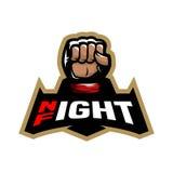 1 Vector mma. Night fight. Fighting logo design. Vector illustration stock illustration
