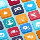 Vector mobiel app spel - knopen in vlakke stijl Royalty-vrije Stock Afbeelding