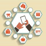 Vector mobiele app - e-mail marketing en bevordering. vector illustratie