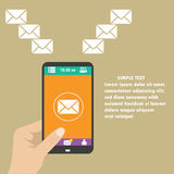 Vector mobiele app - e-mail marketing en bevordering vector illustratie