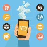 Vector mobiele app - eamil marketing en bevordering Stock Foto