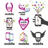 Vector mobiele emblemen en smartphones Royalty-vrije Stock Foto's