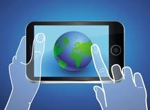 Vector mobiele telefoon met bolpictogram op het scherm Stock Afbeeldingen