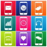 Vector mobiele telefoonpictogrammen Royalty-vrije Stock Afbeeldingen