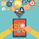 Vector mobile app development concept. Hands holding tablet pc Royalty Free Stock Image