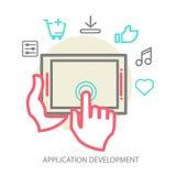 Vector mobile app development concept, line Stock Photography