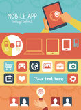 Vector mobile app infographics in flat style Stock Image