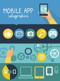 Vector mobile app infographics in flat style Stock Images