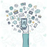 Vector mobile apps. App vector icons.Hand with mobile app.Vector mobile apps. Vector illustration.Vector Mobile apps stock illustration