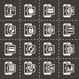 Vector Mobile banking icon set. On black background Royalty Free Stock Images