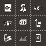 Vector mobile banking icons set. On black background Stock Photos