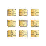 Vector Mobile Cellular Phone Sim Card Chip Set Royalty Free Stock Image