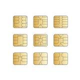 Vector Mobile Cellular Phone Sim Card Chip Set. On White Background royalty free illustration