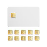 Vector Mobile Cellular Phone Sim Card Chip Set Stock Photos