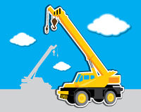 Vector mobile crane Stock Images