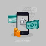 Vector mobile payment concept illustration Royalty Free Stock Images