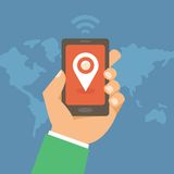 Vector mobile phone with check in mark. Geo targeting concept in flat style Royalty Free Stock Photography