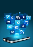 Mobile phone with cloud of application icons Royalty Free Stock Images